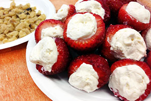"Greek Yogurt ""Cheesecake"" Stuffed Strawberries by JenTrudel"