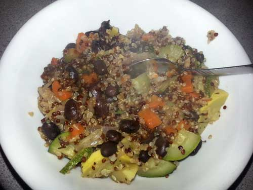 Quinoa, Black Beans with Zucchini and Yellow Squash