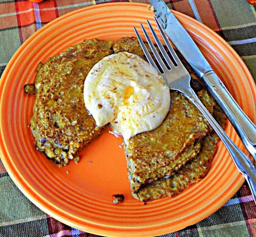 A FALL FOR PUMPKIN PIE PANCAKES W/PUMPKIN YOGURT SYRUP