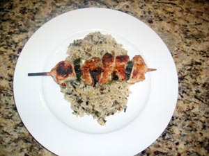 Grilled Chicken Breast And Veggie Kabobs With Long Grain and Wild Rice