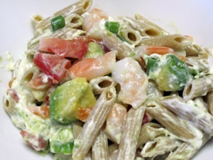 Shrimp & Avocado Alfredo Pasta Salad by Jenn K
