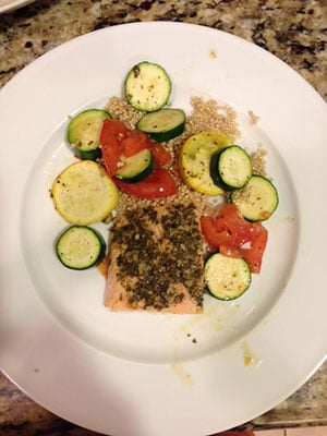 Pesto Salmon with Quinoa and Veggies by Amanda S.