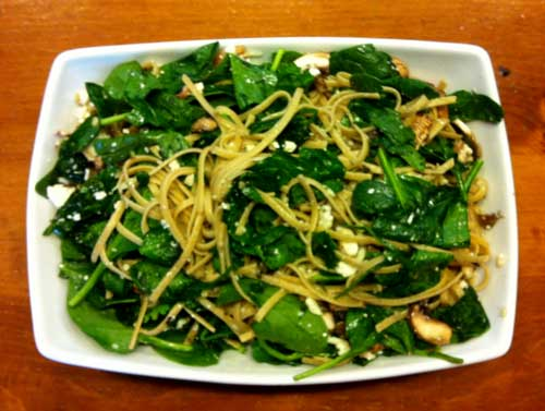 Whole Grain Linguini with Spinach, Mushrooms and Feta