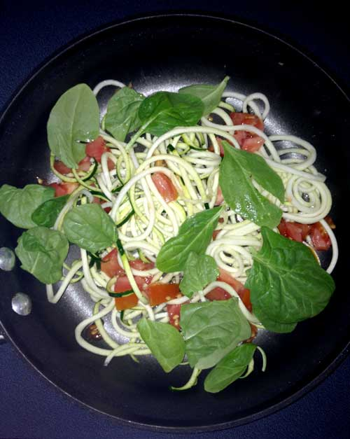 Spiralized Zucchini W/Fresh Basil & Tomatoes