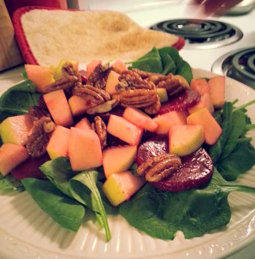 Sweet Pecan Apple Beet Salad