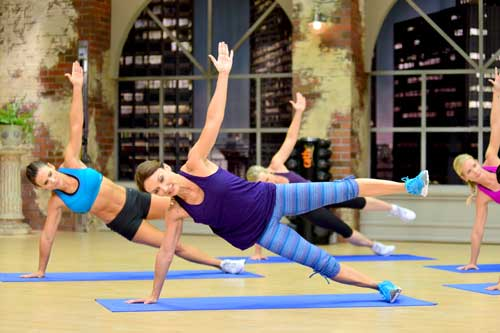 Cathe Friedrich works her core muscles