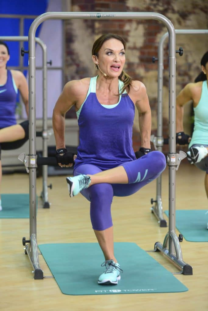 image of Cathe doing dips in Fit Tower Total Body