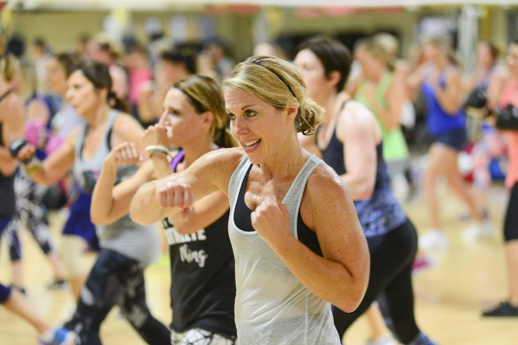 image showing Cathletes staying aerobically fit during the 2017 Glassboro Road Trip kickboxing class