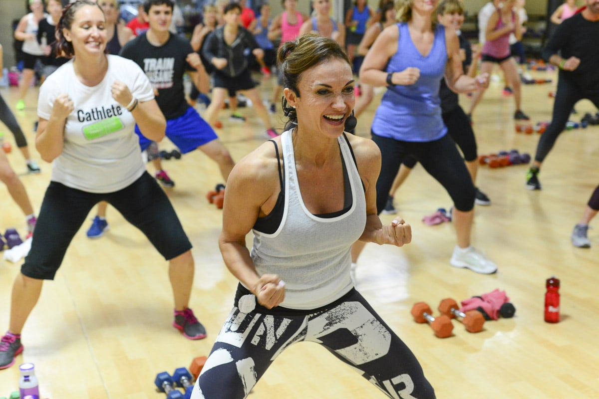 Cathe Friedrich leads a High-intensity interval training class at Four Seasons Fitness