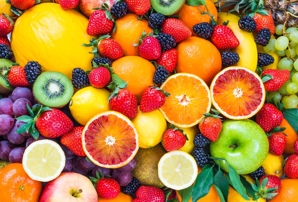 Assorted fruits that are loaded with natural sugar