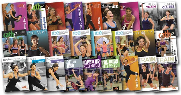 image of DVD covers of videos used in Cathe's November 2017 Workout Rotation
