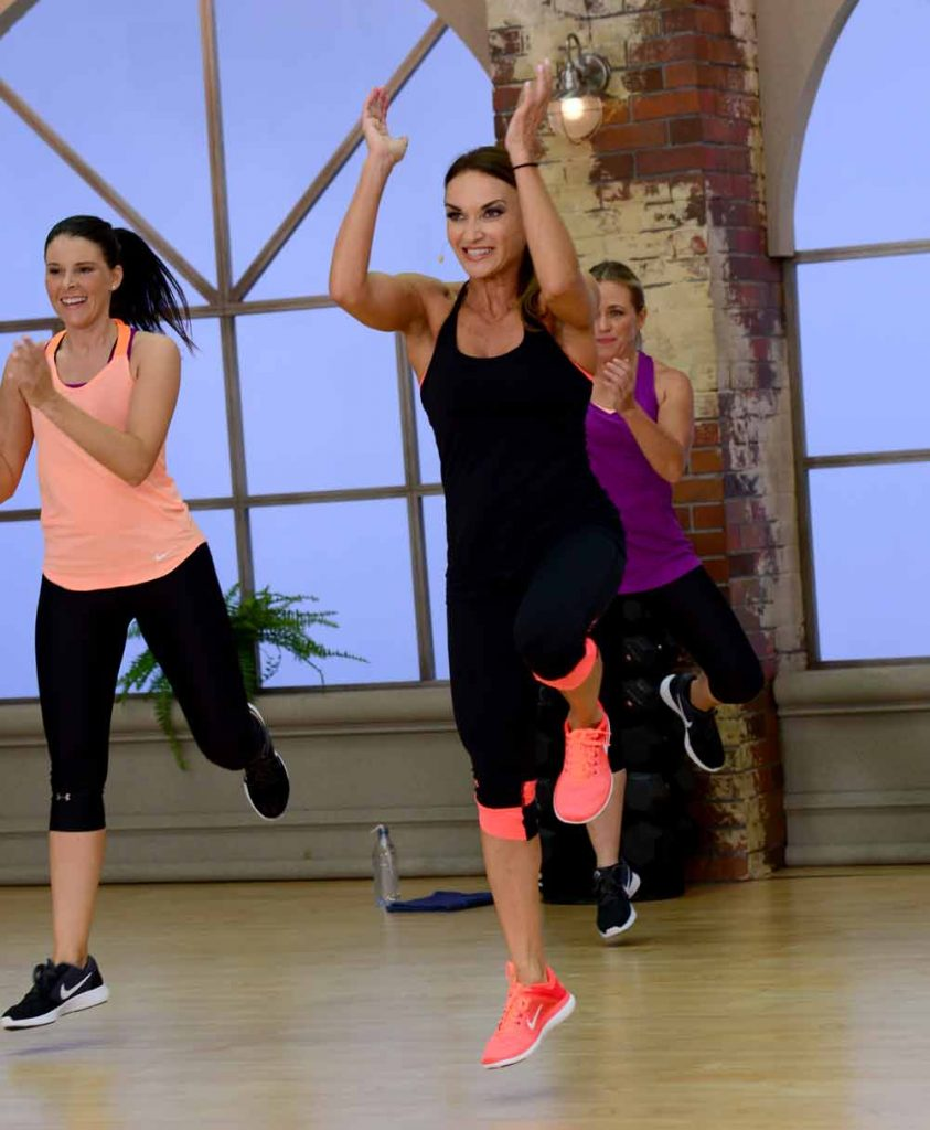 image of Cathe, Jenn and Brenda doing high intensity interval training in Fit Split Mixed Impact Cardio & Pull Day