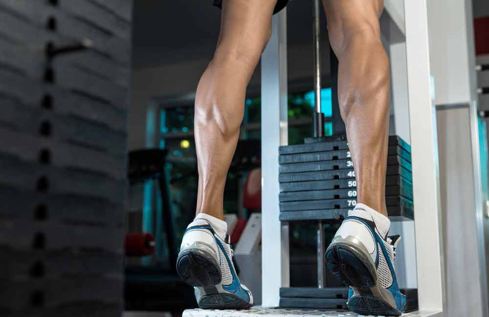 image of an exerciser working their well developed calf muscles on a standing calf machine