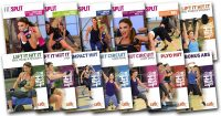 image of video covers used in Cathe Friedrich's Fit Split and Ripped With HiiT workout rotation