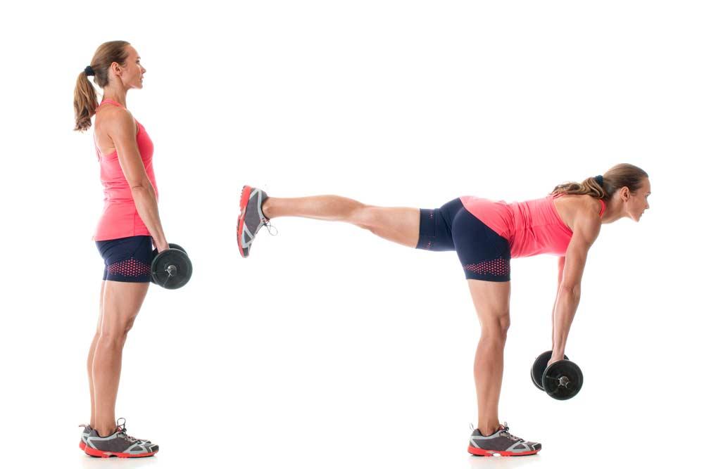 image of woman improving her balance skills while doing a single leg deadlift