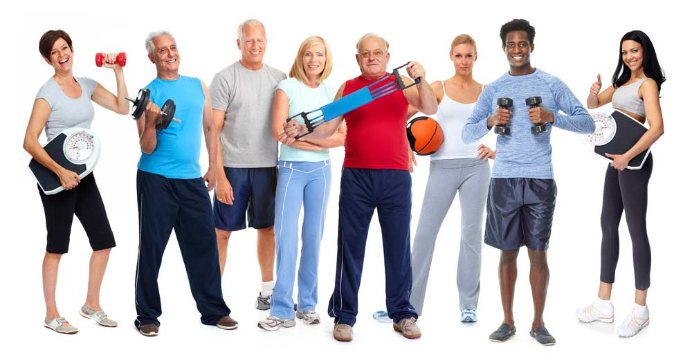 image of several adults of different ages holding different pieces of exercise equipment helping them prevent loss of muscle as they age.