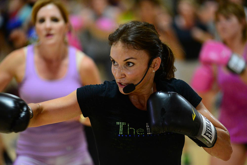 image of Cathe Friedrich during a kickbox workout during the Glassboro road trip