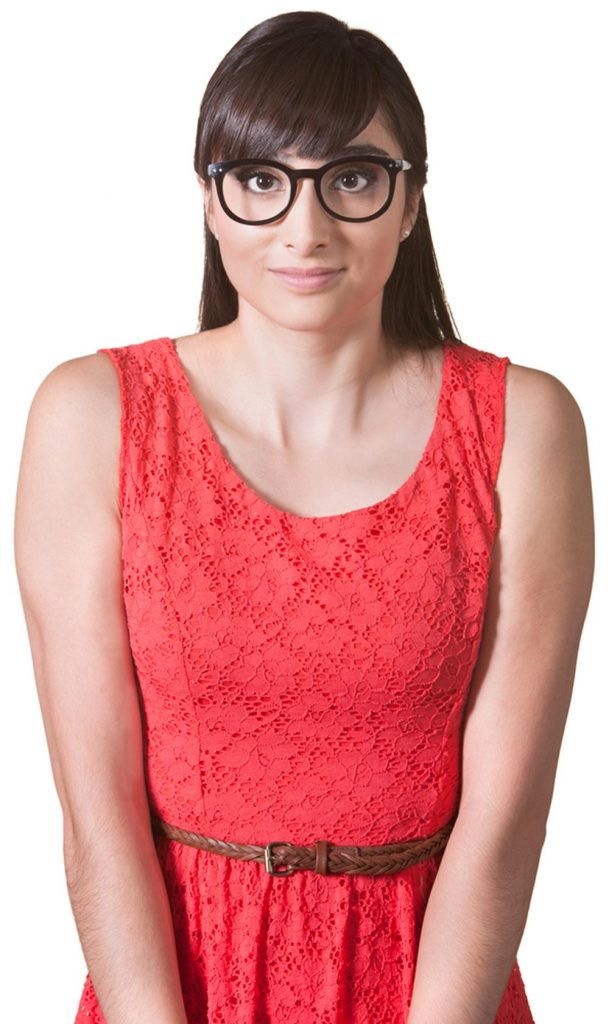 image of a young lady wearing a red dress with glasses and hunched shoulders