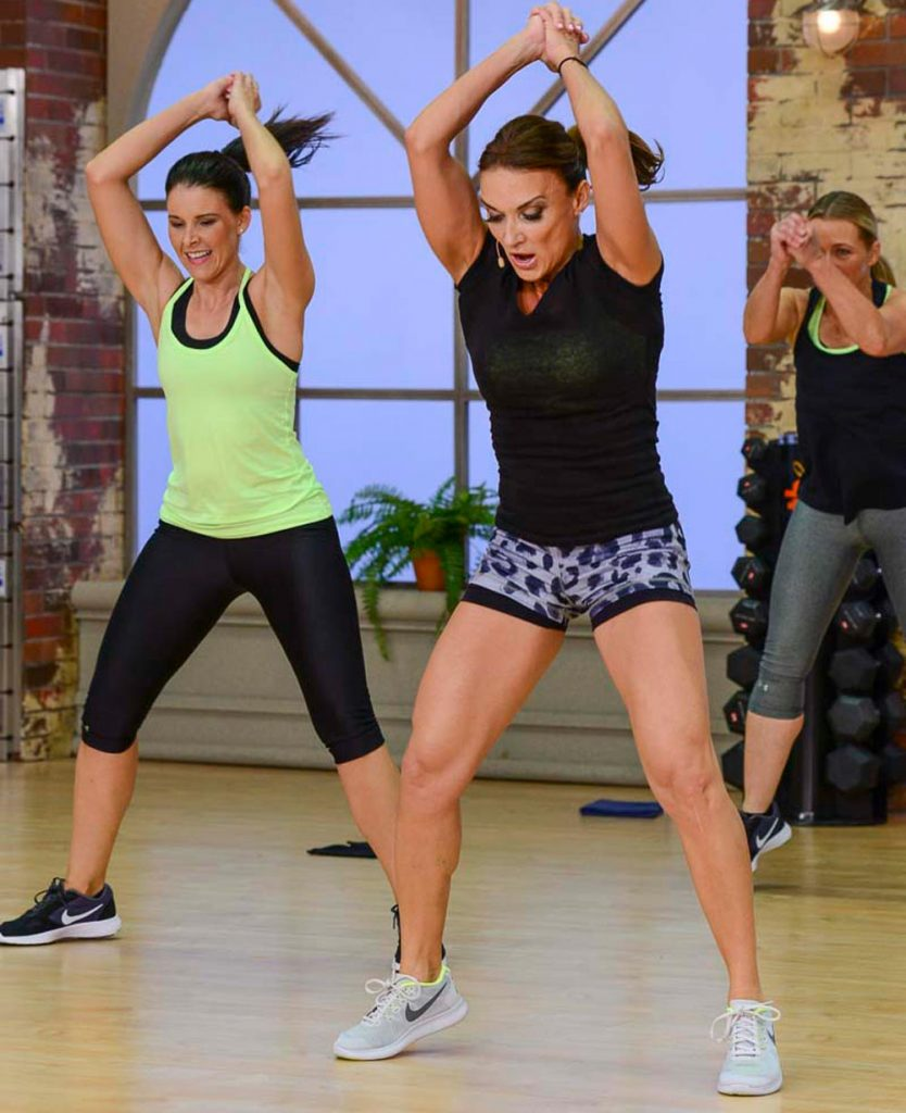 image of Cathe Friedrich in a Fit Split cardio workout