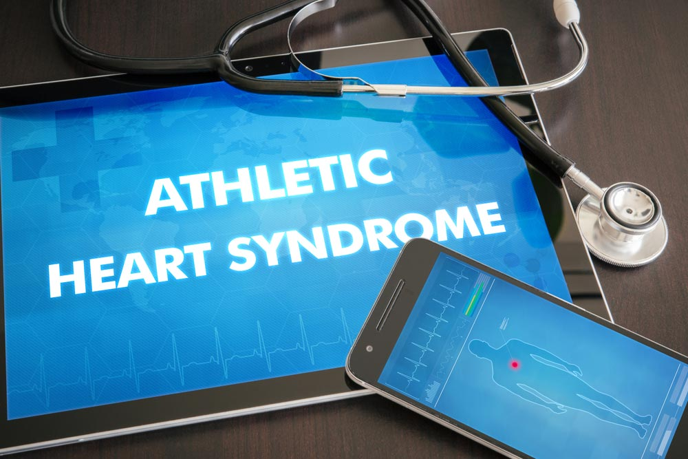 image of athletic heart syndrome (heart disorder) diagnosis medical concept on tablet screen with stethoscope