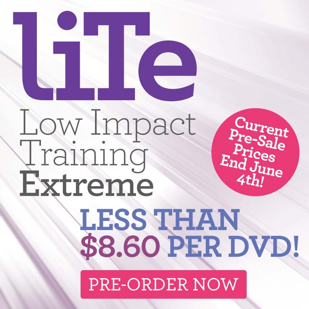Promo image promoting Cathe's New LITE DVDs. Pre- Sale prices end June 4th.