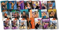 Video cover images of all the workout used in Cathe Friedrich's June 2018 Workout Rotation
