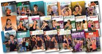 images of all the DVD covers of all the workouts used in Cathe's July 2018 workout rotation