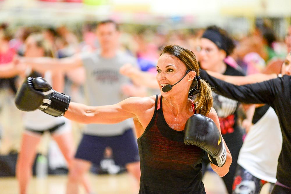 Cathe Friedrich leads an aerobic exercise class at her gym in New Jersey.