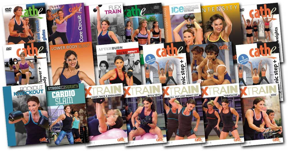These are the DVD covers for all of the workouts in Cathe's September 2018 workout rotation.