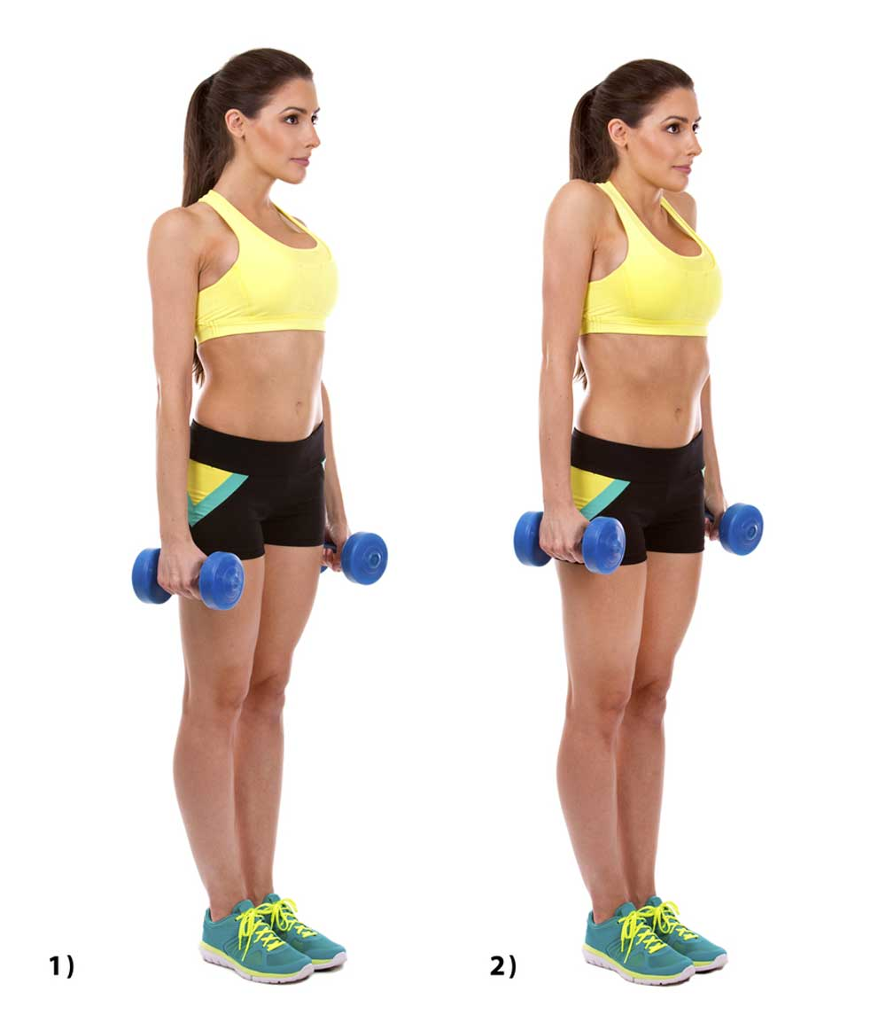A woman doing dumbbell shoulder shrugs to strengthen her traps.